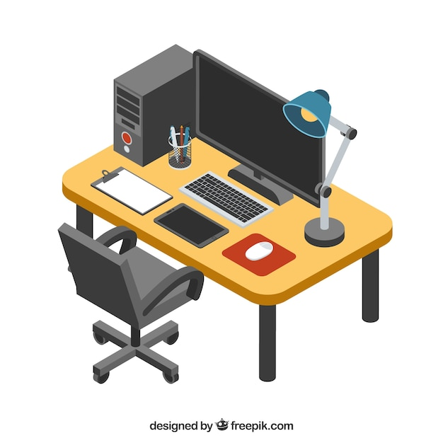 Modern office desk with isometric style