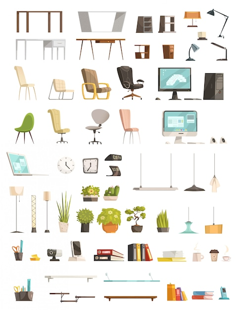 Modern office furniture organizers and accessories Free Vector