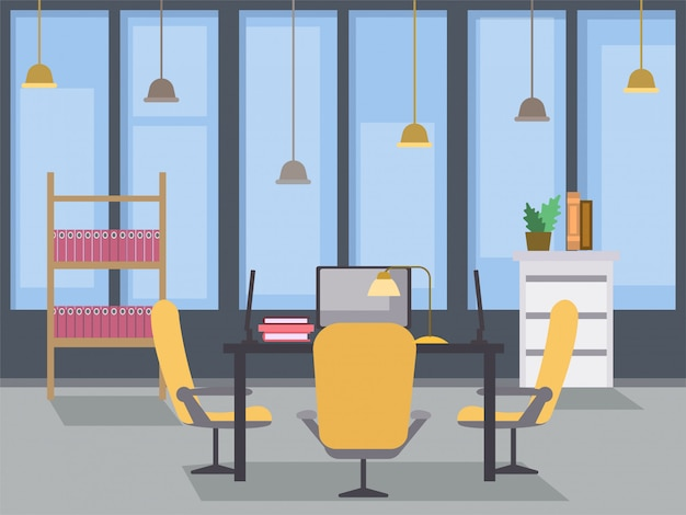 Modern office interior design flat illustration. coworking open space, contemporary building workplace Premium Vector