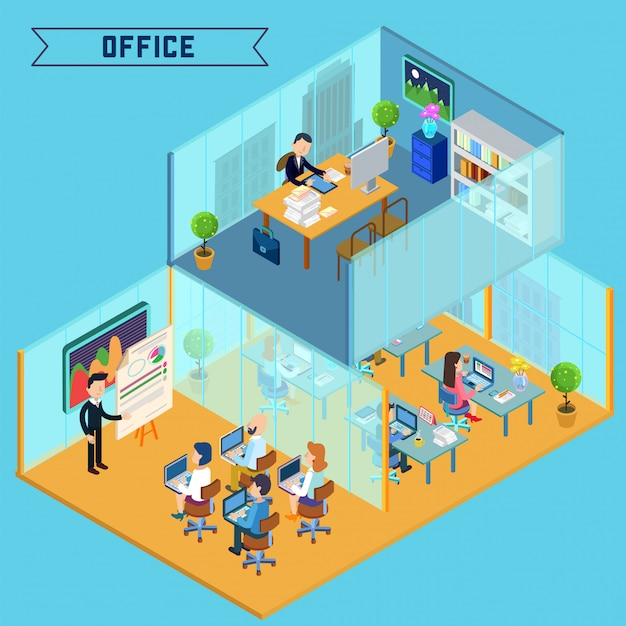 Modern office interior isometric Premium Vector