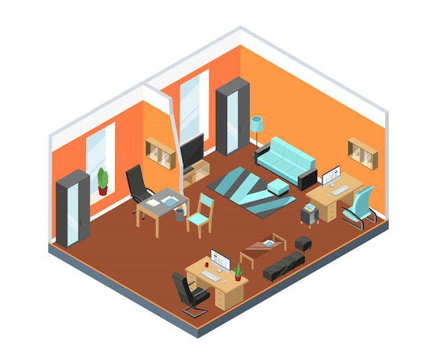 Modern office interior with comfortable workspaces. tables, armchairs from leather and other furniture in isometric style Premium Vector