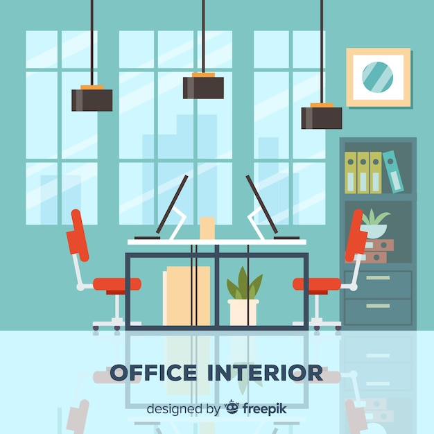 Modern office interior with flat design Free Vector