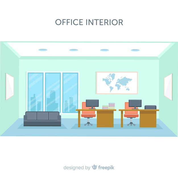 Modern Office Interior With Flat Design Vector