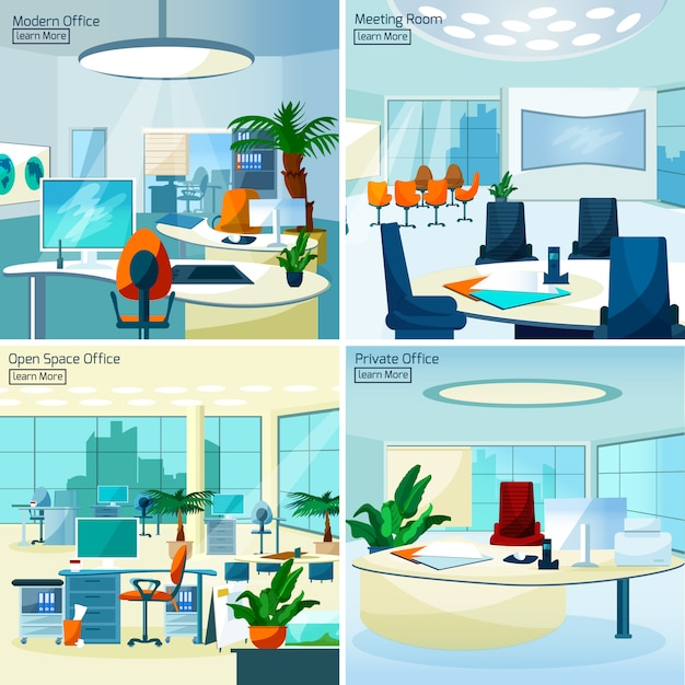 Modern office interiors 2x2 concept Free Vector