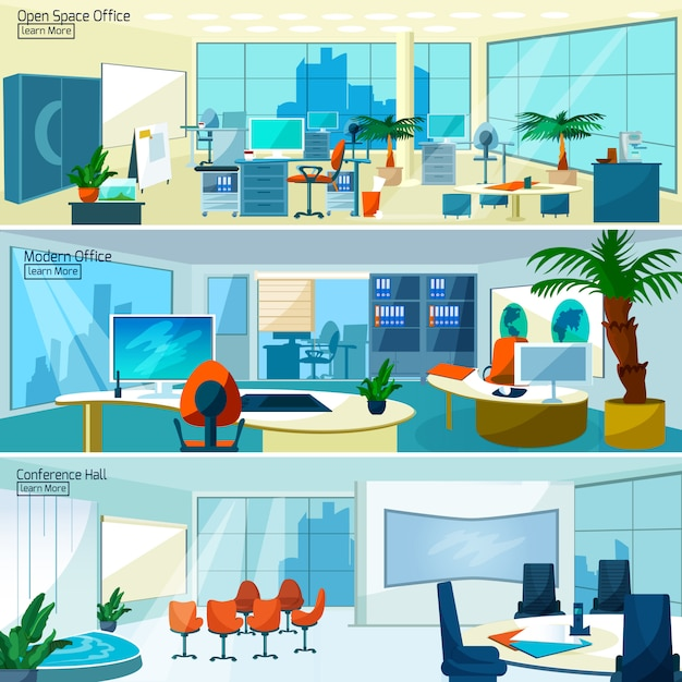 Modern office interiors banners Free Vector
