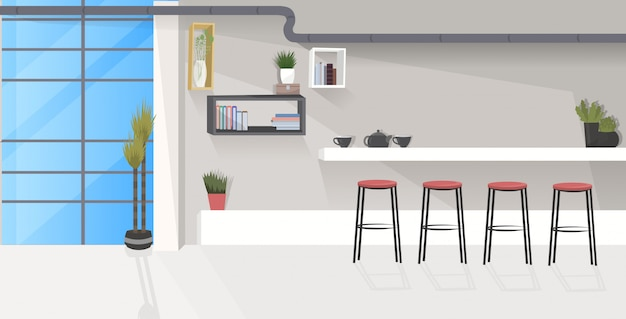 Modern office kitchen interior empty no people dining room with furniture  sketch Premium Vector