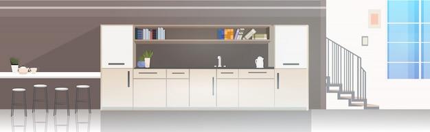Современный офис кухня интерьер пусто нет людей столовая с мебелью Premium векторы