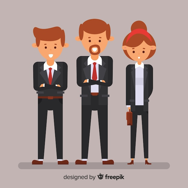 Modern office people composition with flat design Free Vector