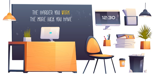 Modern office room interior, business workplace Free Vector