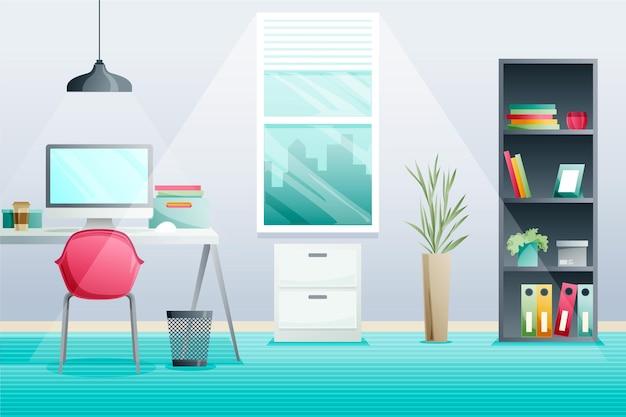 近代的なオフィスのビデオ会議の背景 Premiumベクター