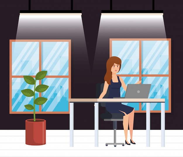 Modern office with businesswoman Free Vector