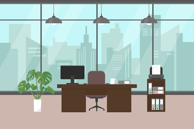 Современный офис с окном, мебелью и растениями на полу. Premium векторы