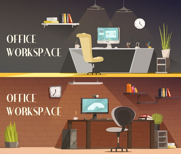 Modern office workspace furniture and accessories Free Vector