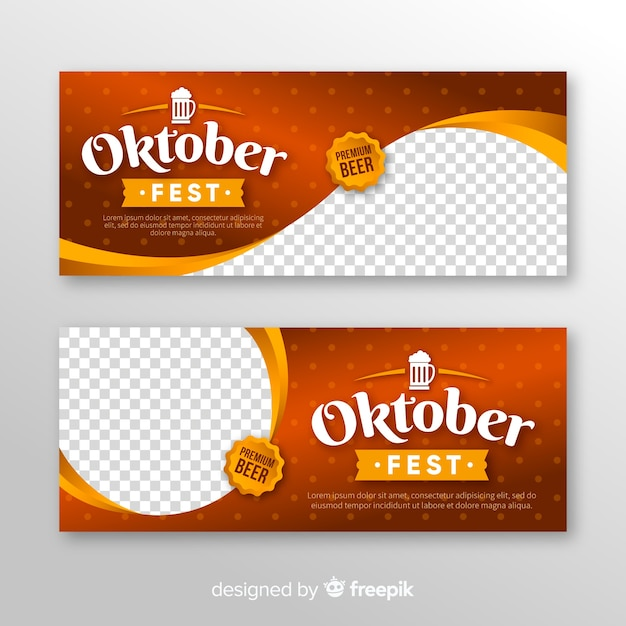 Modern oktoberfest banners with realistic design Free Vector