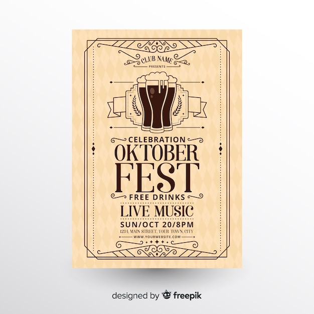 Modern oktoberfest flyer template with flat design Free Vector