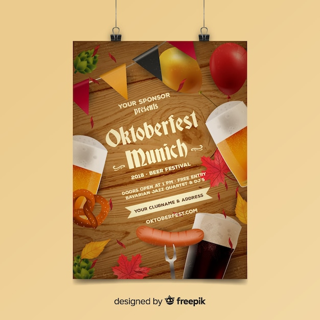 Modern oktoberfest poster template Free Vector