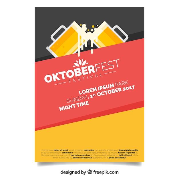Modern oktoberfest poster with flat design Vector | Free ...