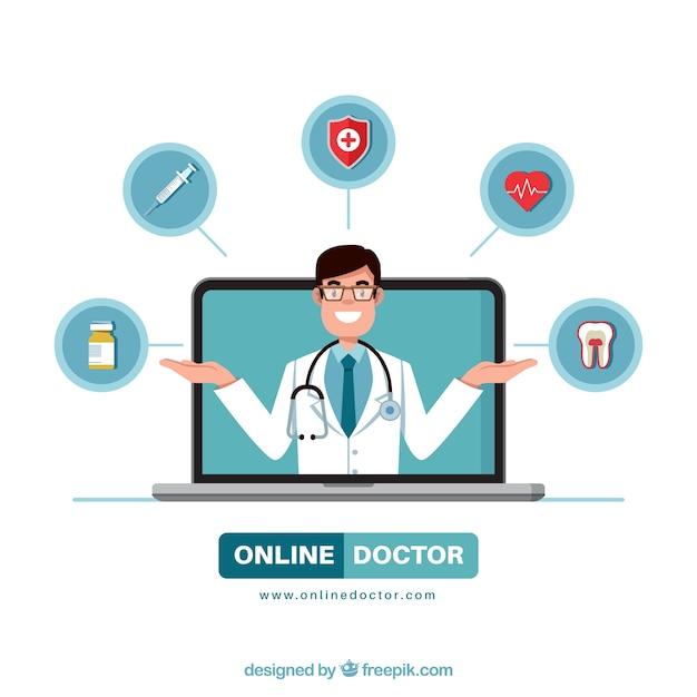 Modern online doctor design Free Vector