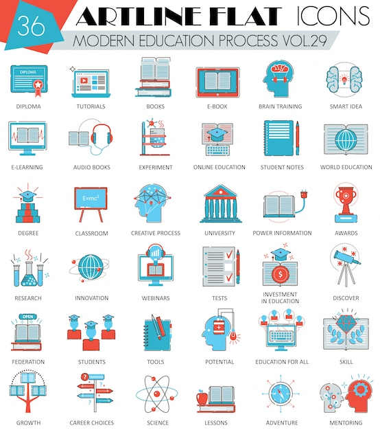 Modern online education flat line icons Premium Vector