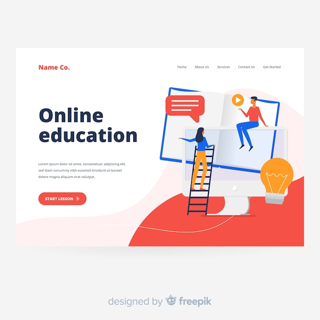 Modern online education landing page Free Vector