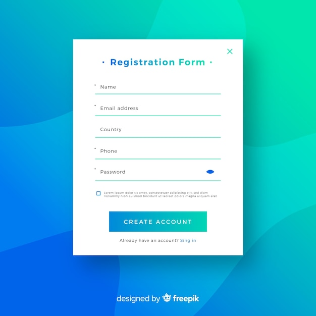 Modern online registration compositio Free Vector