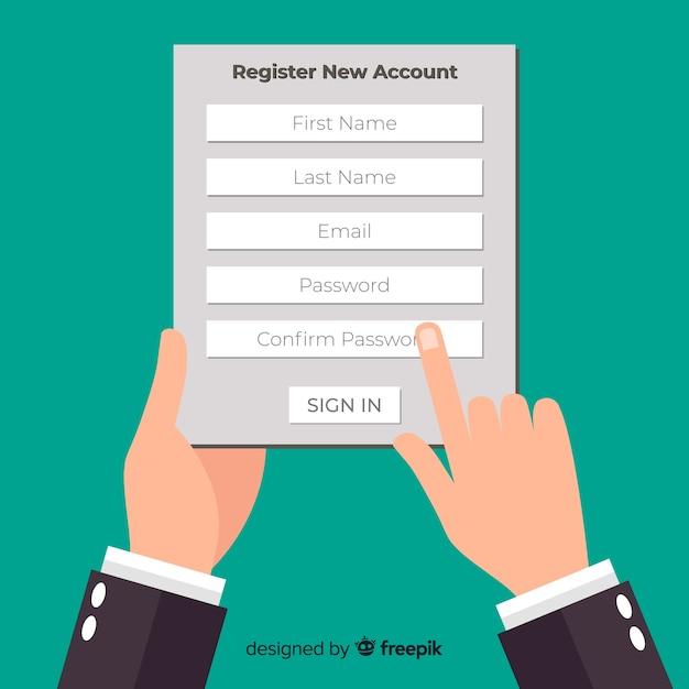 Modern online registration composition Free Vector