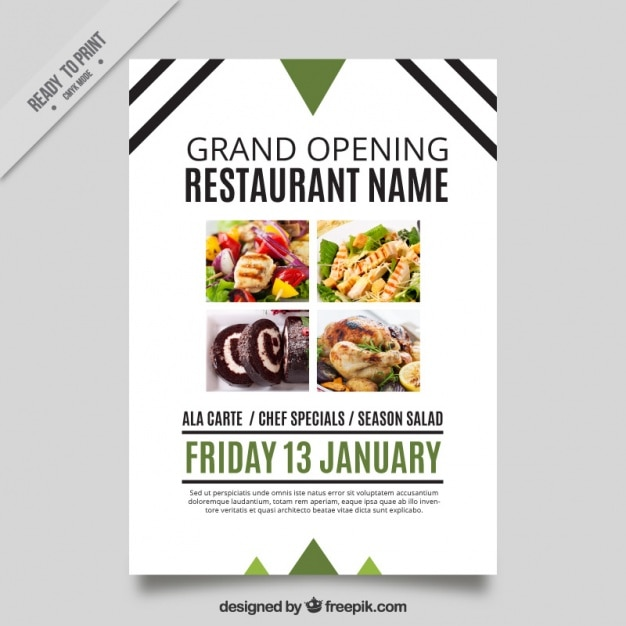 Modern opening restaurant brochure with lines and for Posters para gimnasios