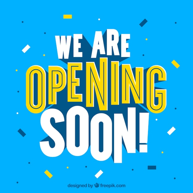 Modern opening soon composition with flat design Free Vector