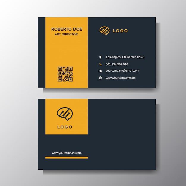 Modern orange business card background Premium Vector