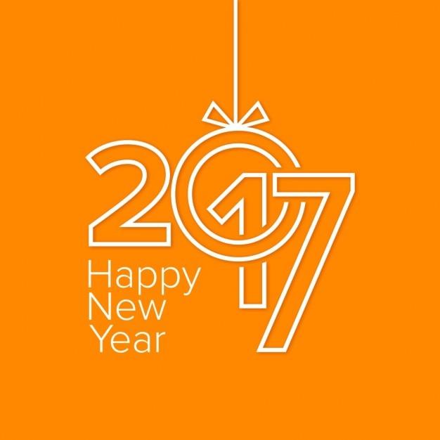 Modern orange new year card Free Vector