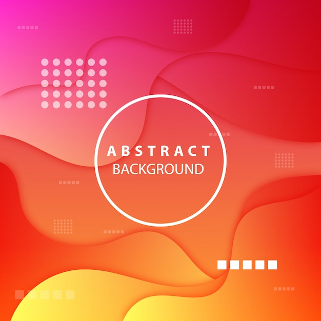 Modern orange and pink background of abstract shapes Premium Vector