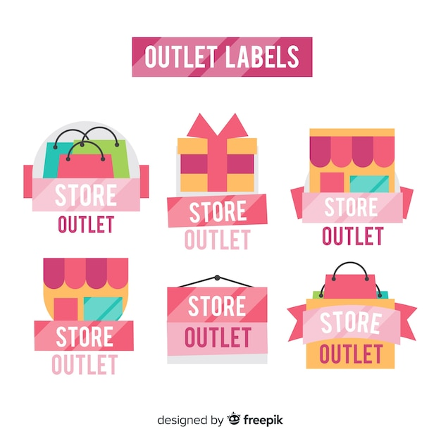 Modern outlet badge collection with flat design Free Vector