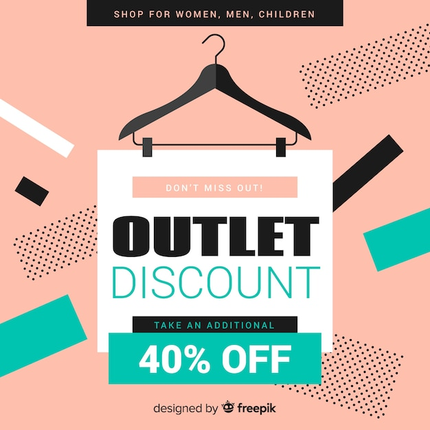Modern outlet composition with flat design Free Vector