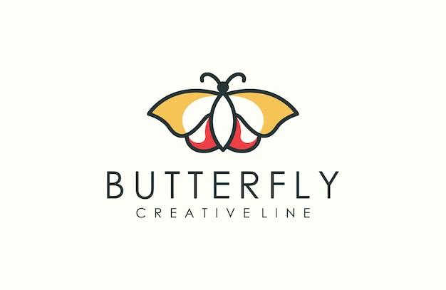 Современный контур логотипа бабочки Premium векторы