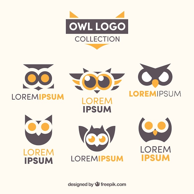 Modern owl logo collection Free Vector