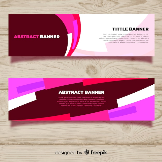 Modern pack of abstract banners with flat design Free Vector