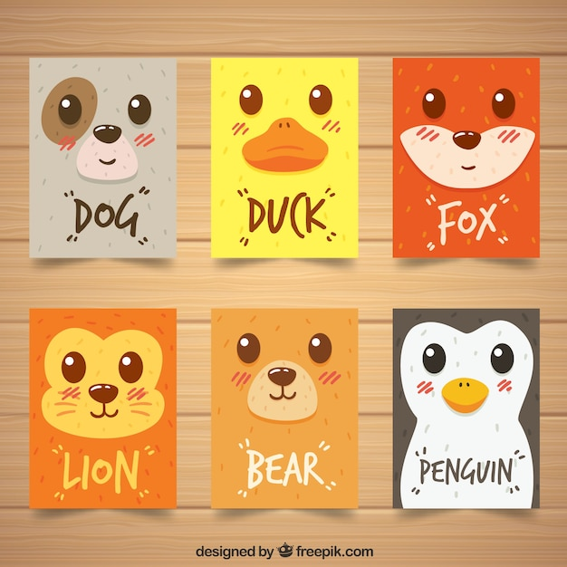Modern pack of cards with animal faces Free Vector