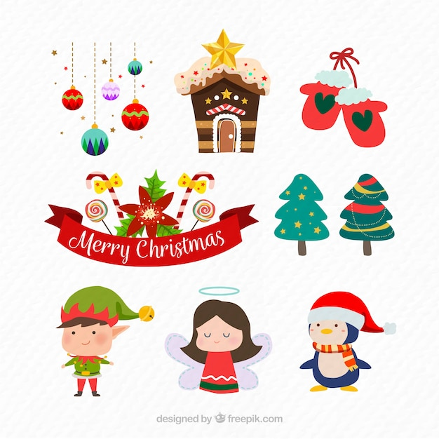 Modern pack of christmas accesories Free Vector