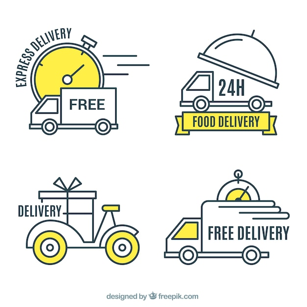 Modern pack of delivery labels Free Vector