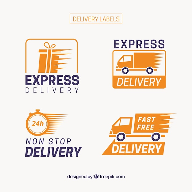 bde3479425491 Modern pack of express delivery labels Vector | Free Download
