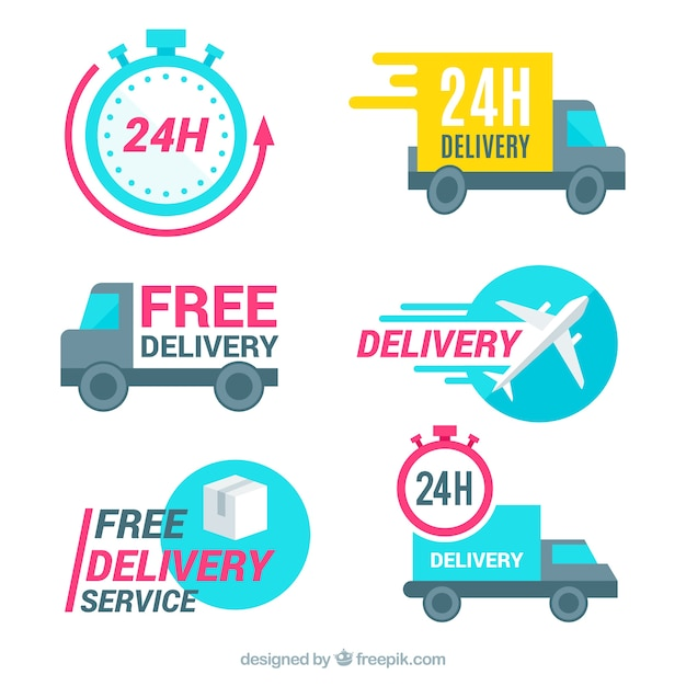 Modern pack of labels with delivery elements Free Vector