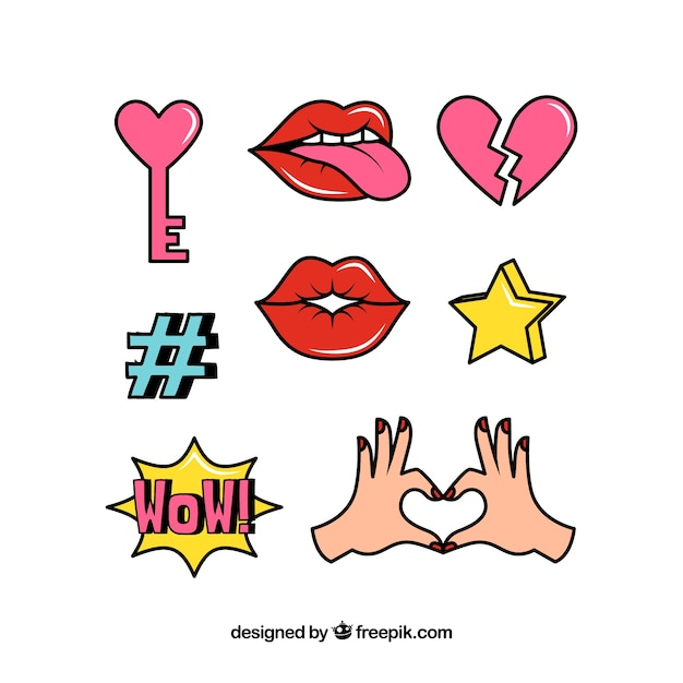 Modern pack of lovely stickers Free Vector