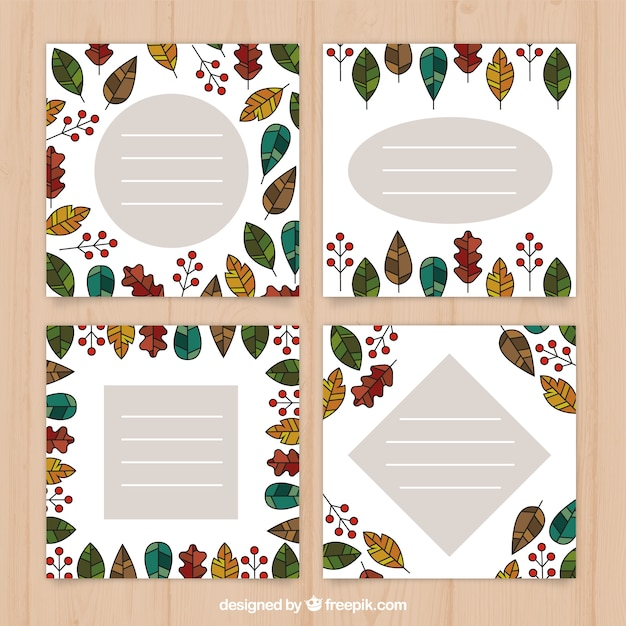 Modern pack of autumn card templates