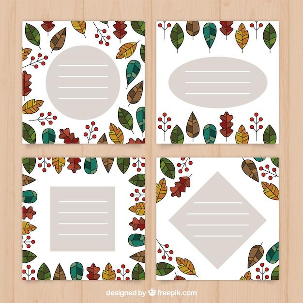 Modern pack of autumn card templates