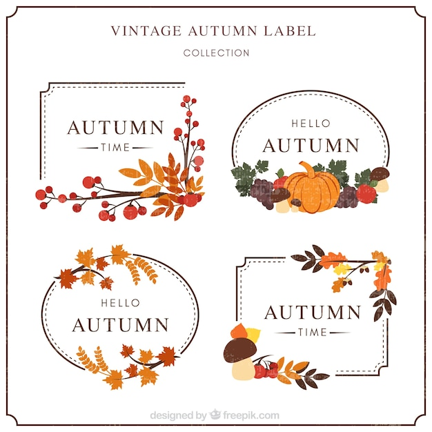 Modern pack of autumn labels with retro style