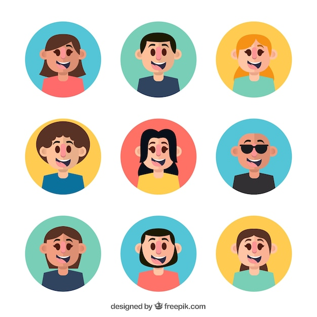 Modern pack of avatars with flat design