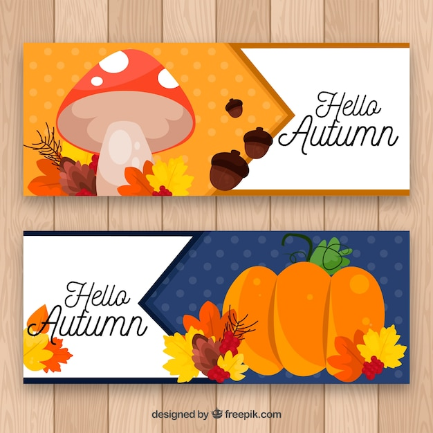 Modern pack of banners with autumnal elements