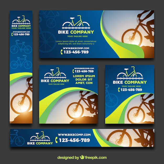Modern pack of banners with bikes Free Vector
