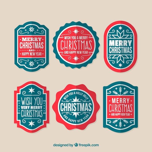 Modern pack of christmas badges