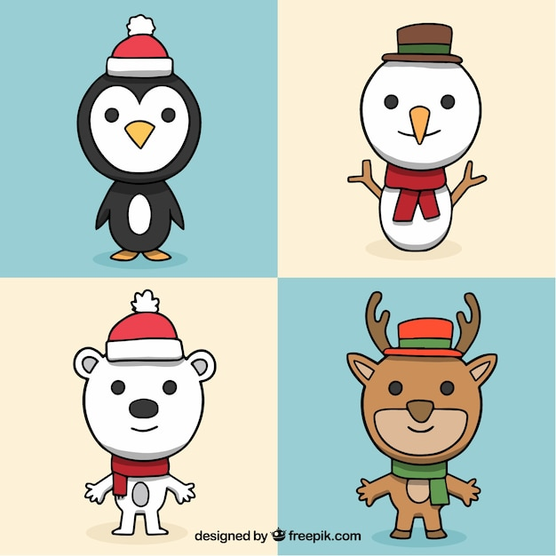 Modern pack of christmas characters